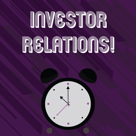 Word writing text Investor Relations. Business photo showcasing Finance Investment Relationship Negotiate Shareholder Stock Photo