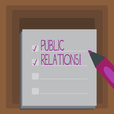 Writing note showing Public Relations. Business concept for Communication Media People Information Publicity Social