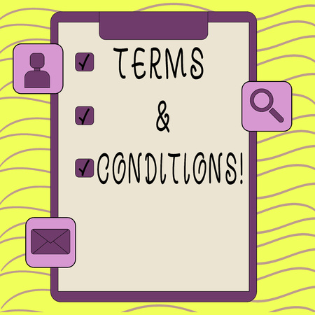 Word writing text Terms And Conditions. Business photo showcasing Legal Law Agreement Disclaimer Restrictions Settlement 스톡 콘텐츠