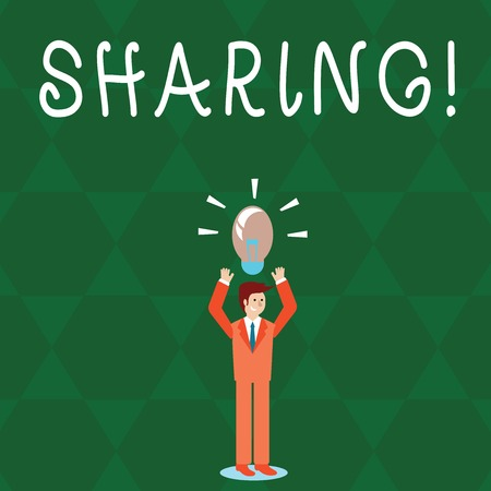 Text sign showing Sharing. Business photo text To Share Give a portion of something to another Possess in common