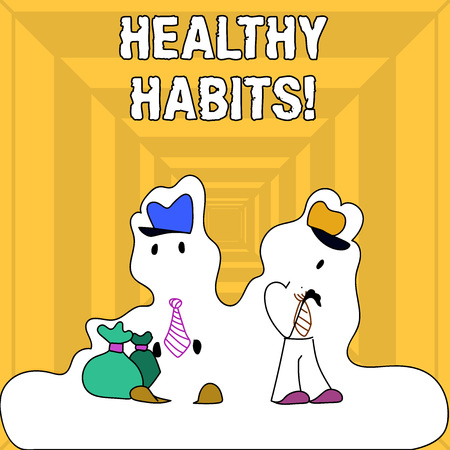 Writing note showing Healthy Habits. Business concept for Good nutrition diet take care of oneself Weight Control