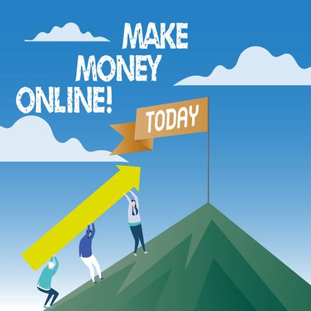 Word writing text Make Money Online. Business photo showcasing Business Ecommerce Ebusiness Innovation Web Technology Imagens