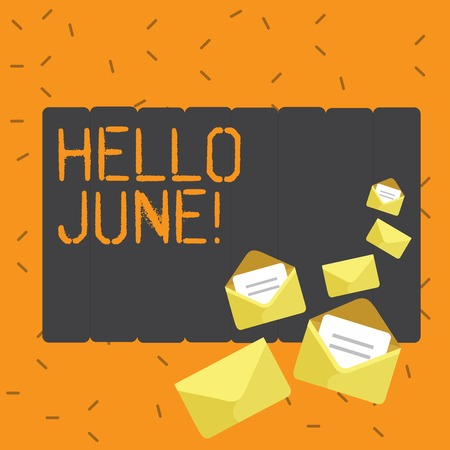 Writing note showing Hello June. Business concept for Starting a new month message May is over Summer starting