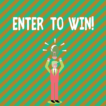 Handwriting text writing Enter To Win. Conceptual photo Award Reward Prize given for visiting a website Chance Giveaway Stock Photo