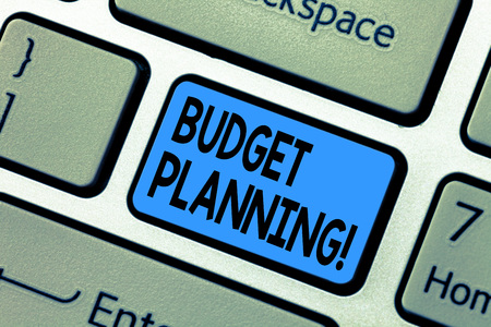 Word writing text Budget Planning. Business concept for Financial Planning Evaluation of earnings and expenses Keyboard key Intention to create computer message pressing keypad idea