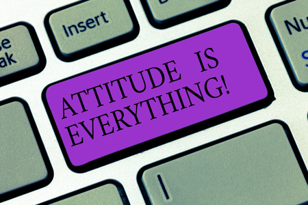 Conceptual hand writing showing Attitude Is Everything. Business photo showcasing Motivation Inspiration Optimism important to succeed Keyboard key Intention to create computer message idea Stock Photo
