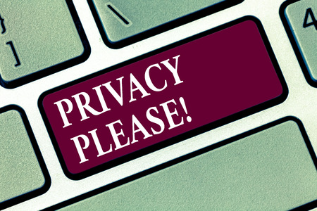 Conceptual hand writing showing Privacy Please. Business photo text Let us Be Quiet Rest Relaxed Do not Disturb Keyboard key Intention to create computer message idea