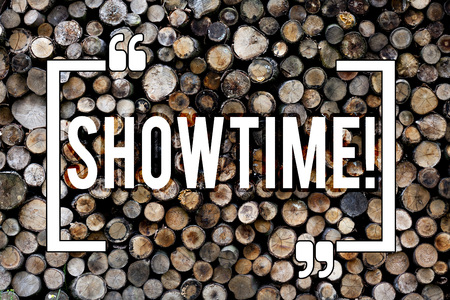 Word writing text Showtime. Business photo showcasing Time a Play Film Concert Perforanalysisce Event is scheduled to start Wooden background vintage wood wild message ideas intentions thoughts 스톡 콘텐츠