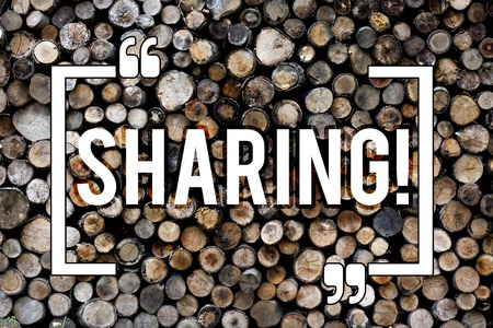 Word writing text Sharing. Business photo showcasing To Share Give a portion of something to another Possess in common Wooden background vintage wood wild message ideas intentions thoughts Stock Photo