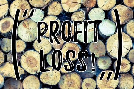 Text sign showing Profit Loss. Business photo text Financial year end account contains total revenues and expenses Wooden background vintage wood wild message ideas intentions thoughts Stock Photo