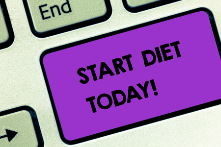 Writing note showing Start Diet Today. Business concept for special course food to which demonstrating restricts themselves Keyboard key Intention to create computer message pressing keypad idea