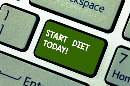 Conceptual hand writing showing Start Diet Today. Concept meaning special course food to which demonstrating restricts themselves Keyboard key Intention to create computer message idea