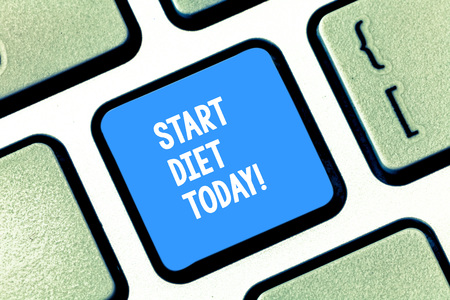 Text sign showing Start Diet Today. Business photo text special course food to which demonstrating restricts themselves Keyboard key Intention to create computer message pressing keypad idea Banco de Imagens