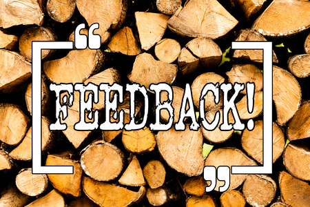 Conceptual hand writing showing Feedback. Concept meaning Customer Review Opinion Reaction Evaluation Give a response back Wooden background vintage wood wild message ideas thoughts