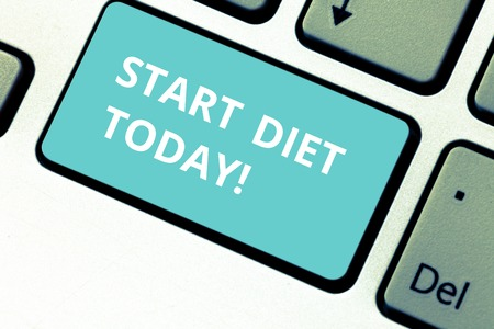Word writing text Start Diet Today. Business photo showcasing special course food to which demonstrating restricts themselves Keyboard key Intention to create computer message pressing keypad idea