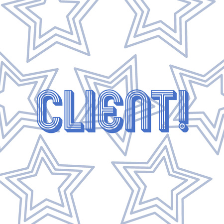 Text sign showing Client. Business photo showcasing Purchaser Customer Shopper User Patron Prospect Sharer Investor Buyer Repetition of Pentagon Star Concentric Pattern in Random on White Isolated Imagens