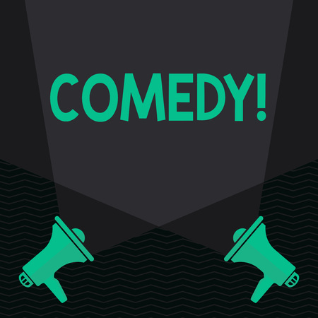 Conceptual hand writing showing Comedy. Concept meaning Fun Humor Satire Sitcom Hilarity Joking Entertainment Laughing Spotlight Crisscrossing Upward from Megaphones on the Floor