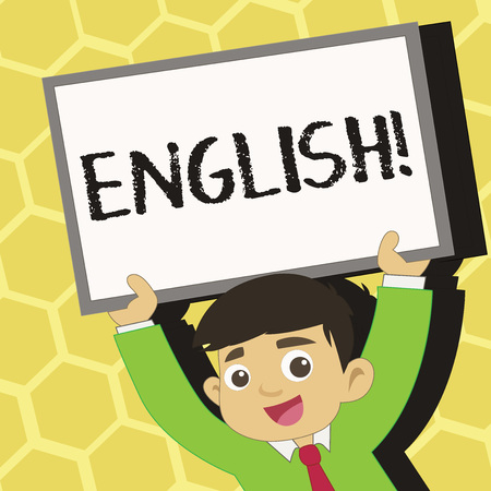 Text sign showing English. Business photo text Relating to England its People or their Language Young Smiling Student Raising Upward Blank Framed Whiteboard Above his Head