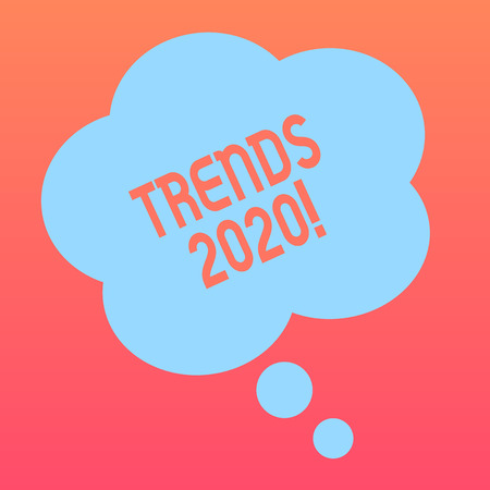 Handwriting text writing Trends 2020. Conceptual photo general direction in which something is developing or changing Blank Color Floral Shape Thought Speech Bubble photo for Presentation Ads Banco de Imagens