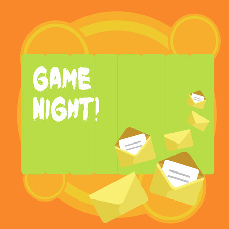Word writing text Game Night. Business photo showcasing usually its called on adult play dates like poker with friends Closed and Open Envelopes with Letter Tucked In on Top of Color Stationery Foto de archivo