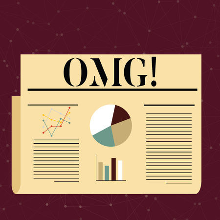 Conceptual hand writing showing Omg. Concept meaning Oh my good abbreviation Modern Astonishment expression Colorful Layout Design Plan of Text Line, Bar and Pie Chart Imagens