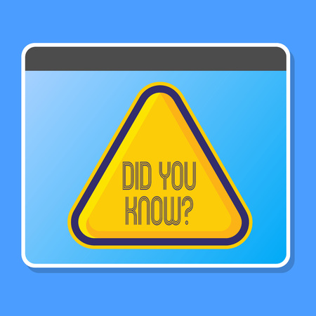 Word writing text Did You Know . Business photo showcasing when you are asking someone if they know fact or event Blank Yellow Embossed Triangle with Border as Web Button In Tablet Screen