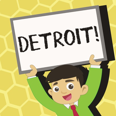 Text sign showing Detroit. Business photo text City in the United States of America Capital of Michigan Motown Young Smiling Student Raising Upward Blank Framed Whiteboard Above his Head