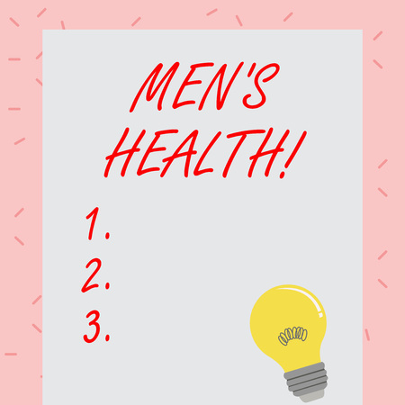 Text sign showing Men S Health. Business photo showcasing state of complete physical mental and social well being by analysis Incandescent Light Bulb with Filament Inside Resting on Blank Color Paper