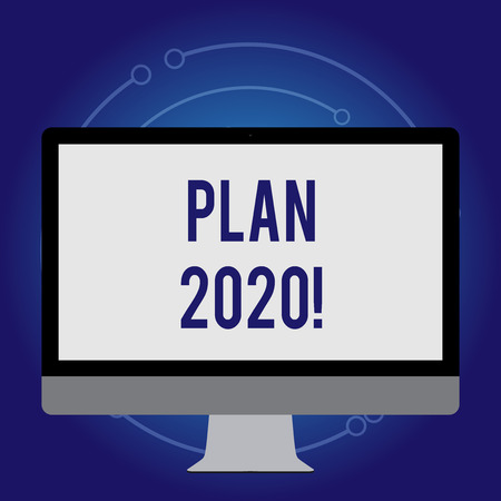 Conceptual hand writing showing Plan 2020. Concept meaning detailed proposal doing achieving something next year White Computer Monitor WideScreen on a Stand for Technology