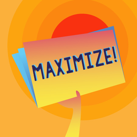 Word writing text Maximize. Business photo showcasing Increase to the greatest possible amount or degree Make larger Hand Holding and Raising Blank Space Colorful File Folder with Sheet Inside Stock Photo