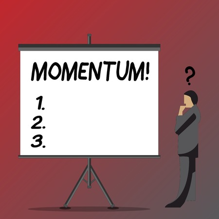 Text sign showing Momentum. Business photo showcasing Quantity motion in moving body Product of mass and velocity Businessman with Question Mark Above his Head Standing Beside Blank Screen Stock Photo