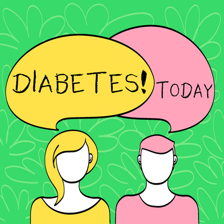 Conceptual hand writing showing Diabetes. Concept meaning Chronic disease associated to high levels of sugar glucose in blood Faces of Male and Female Colorful Speech Bubble Overlaying