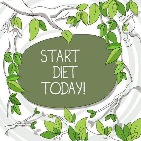 Writing note showing Start Diet Today. Business concept for special course food to which demonstrating restricts themselves Tree Branches Scattered with Leaves Surrounding Blank Color Text Space