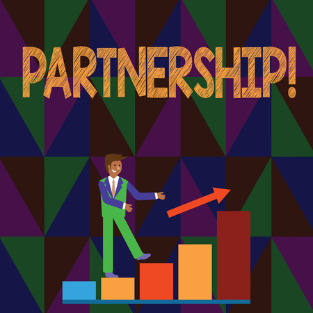 Conceptual hand writing showing Partnership. Concept meaning Association of two or more showing as partners Cooperation Unity Smiling Businessman Climbing Bar Chart Following an Arrow Up