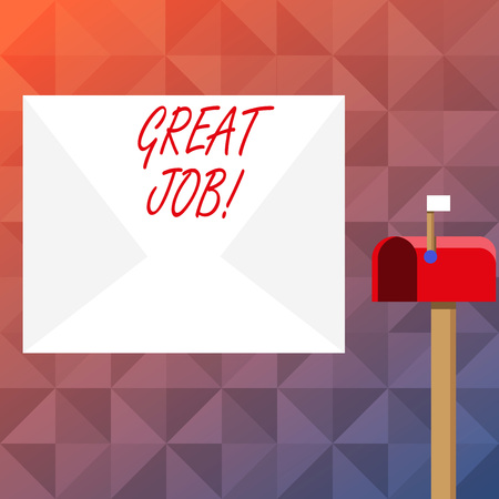 Text sign showing Great Job. Business photo text used praising someone for something they have done very well Blank Big White Envelope and Open Red Mailbox with Small Flag Up Signalling