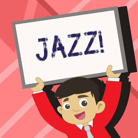 Word writing text Jazz. Business photo showcasing Type of music of black American origin Musical genre Strong rhythm Young Smiling Student Raising Upward Blank Framed Whiteboard Above his Head