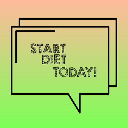 Handwriting text writing Start Diet Today. Conceptual photo special course food to which demonstrating restricts themselves Rectangular Outline Transparent Comic Speech Bubble photo Blank Space Banco de Imagens