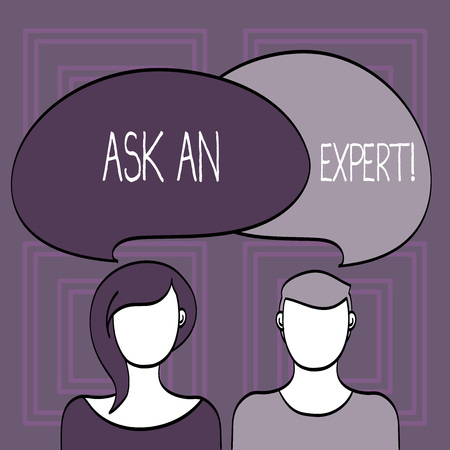 Conceptual hand writing showing Ask An Expert. Concept meaning confirmation that have read understand and agree with guidelines Faces of Male and Female Colorful Speech Bubble Overlaying