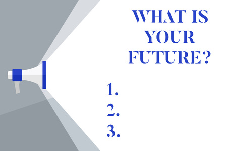 Writing note showing What Is Your Future. Business concept for Where do you see yourself in the next years Megaphone Extending Capacity of Volume Range thru Wide Beam
