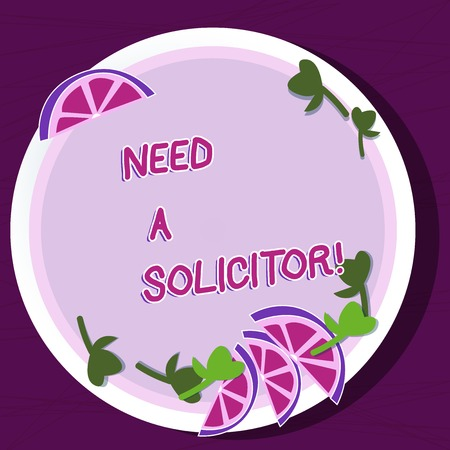 Writing note showing Need A Solicitor. Business concept for legal practitioner who deals with most of legal matters Cutouts of Sliced Lime Wedge and Herb Leaves on Color Plate