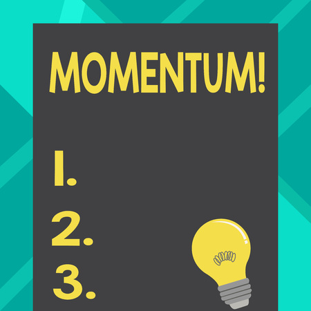 Text sign showing Momentum. Business photo text Quantity motion in moving body Product of mass and velocity Incandescent Light Bulb with Filament Inside Resting on Blank Color Paper Stock Photo