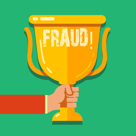 Word writing text Fraud. Business photo showcasing Criminal deception to get financial or demonstratingal gain Hand Holding Blank Golden Championship Winners Cup Trophy with Reflection Stock Photo