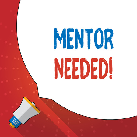 Text sign showing Mentor Needed. Business photo text Employee training under senior assigned act as advisor Huge Blank White Speech Bubble Occupying Half of Screen and Small Megaphone Banco de Imagens