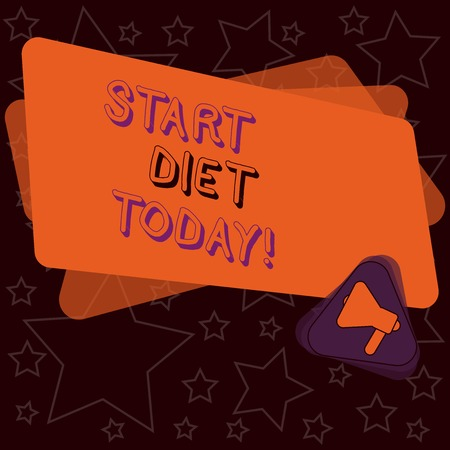 Handwriting text writing Start Diet Today. Conceptual photo special course food to which demonstrating restricts themselves Megaphone Inside Triangle and Blank Color Rectangle for Announcement Banco de Imagens
