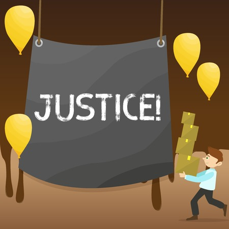Text sign showing Justice. Business photo showcasing Quality of being just impartial or fair Administration of law rules Man Carrying Pile of Boxes with Blank Tarpaulin in the Center and Balloons