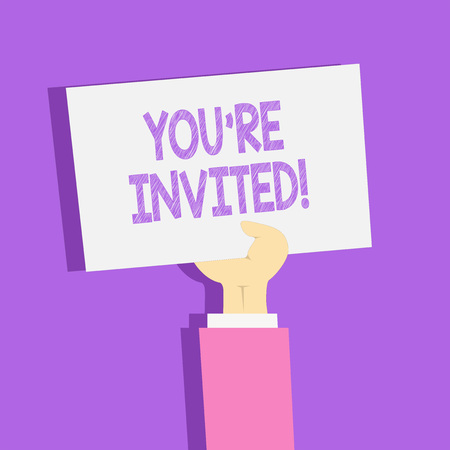 Text sign showing You Re Invited. Business photo showcasing make a polite friendly request to someone go somewhere Clipart of Hand Holding Up Blank Sheet of White Paper on Pastel Backdrop