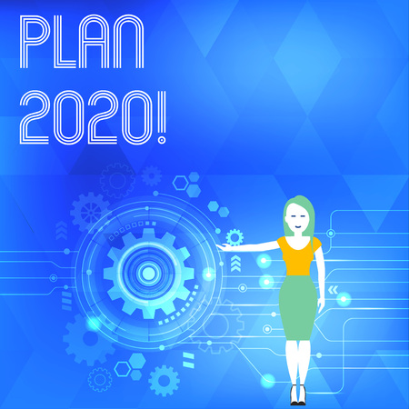 Conceptual hand writing showing Plan 2020. Concept meaning detailed proposal doing achieving something next year Woman Presenting the SEO Process with Cog Wheel Gear inside Reklamní fotografie