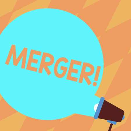 Text sign showing Merger. Business photo showcasing Combination of two things or companies Fusion Coalition Unification Blank Round Color Speech Bubble Coming Out of Megaphone for Announcement