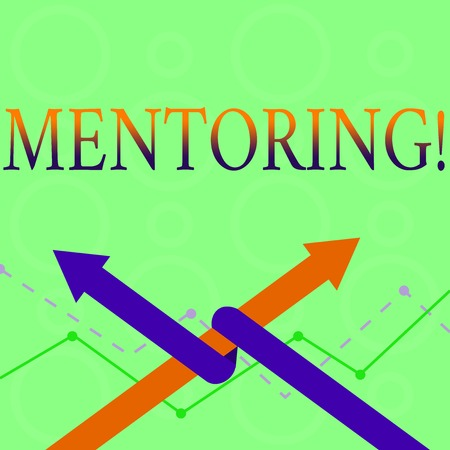 Conceptual hand writing showing Mentoring. Concept meaning To give advice or support to a younger less experienced demonstrating Two Arrows One Intertwined to Other Team Up or Competition