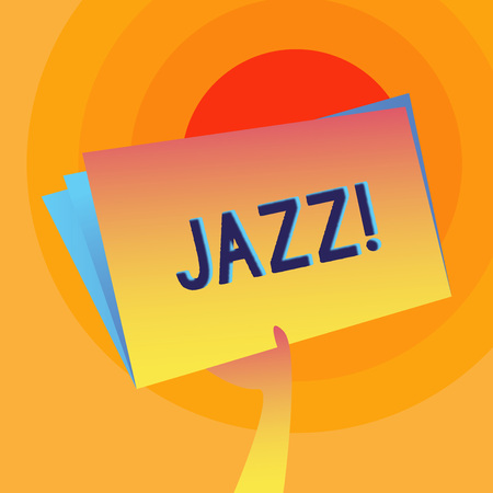 Word writing text Jazz. Business photo showcasing Type of music of black American origin Musical genre Strong rhythm Hand Holding and Raising Blank Space Colorful File Folder with Sheet Inside
